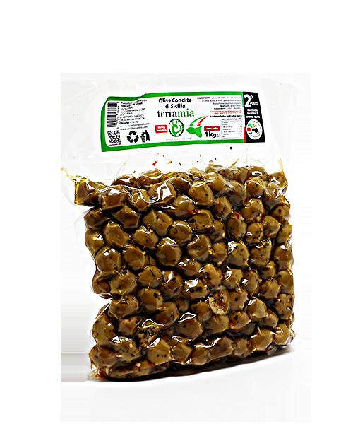 Žaliosios Sicilijos alyvuogės su prieskoniais 1kg
