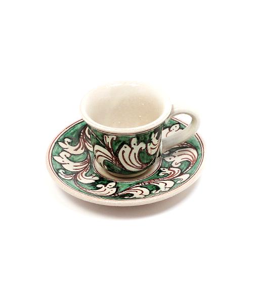 Keramikinis espresso puodelis su lėkštute žalias