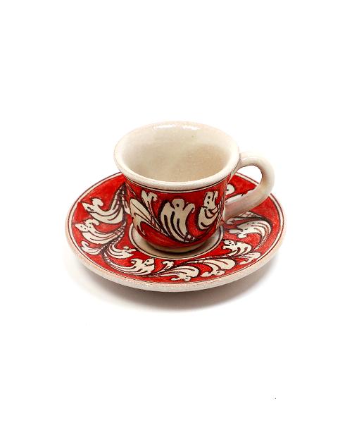 Keramikinis espresso puodelis su lėkštute raudonas