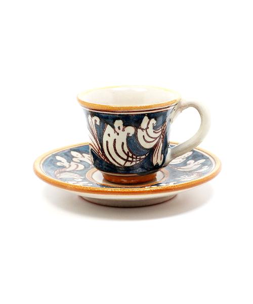 Keramikinis espresso puodelis su lėkštute mėlynas