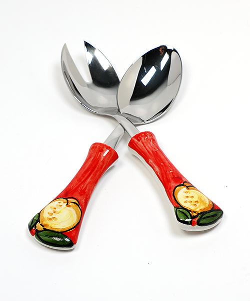 Šaukštai salotoms keramikine rankena