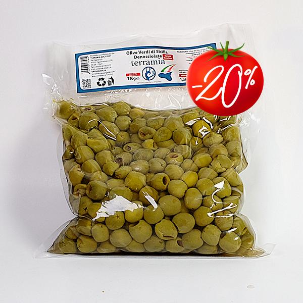 Žaliosios Sicilijos alyvuogės be kauliukų 1 kg