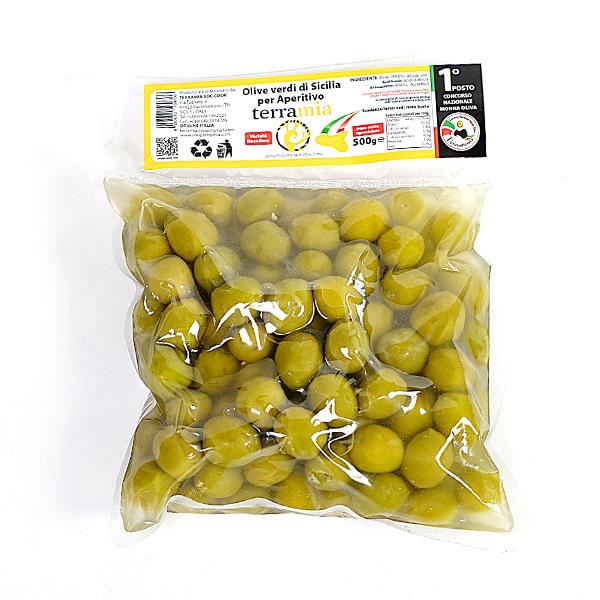 Žaliosios Sicilijos alyvuogės aperityvui ir užkandžiams 500 g