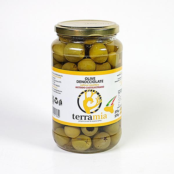 Žaliosios Sicilijos alyvuogės be kauliukų 570 g
